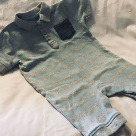 3-6 Month Blue and Grey Playsuit